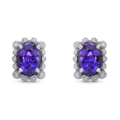 Purple Sapphire & Diamond Earrings (2.45Ct TW)