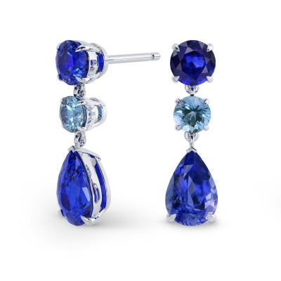 Multi-color Sapphire & Aquamarine Earrings TW4.95cts (4.91Ct TW)