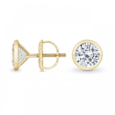 GIA, Round Bezel-set Diamond Earrings (1.00Ct TW)