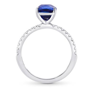 Royal Blue Sapphire Cushion & Diamond Side stone Ring (2.93Ct TW)