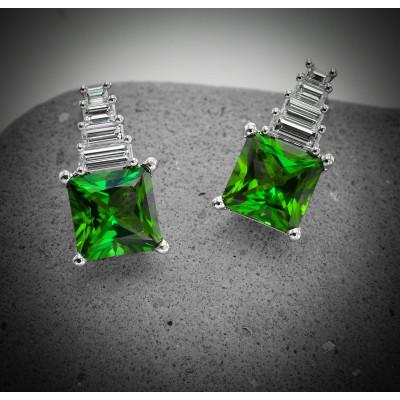 Green Tourmaline and Diamond Drop Earrings (5.13Ct TW)