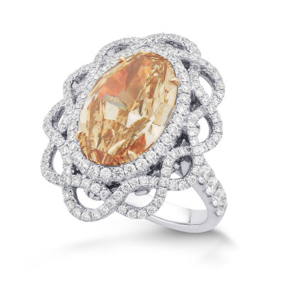 Fancy Brown Orange Oval Diamond Designer Ring (8.42Ct TW)