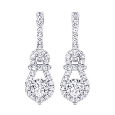 Round Brilliant Halo Diamond Drop Earrings (1.54Ct TW)