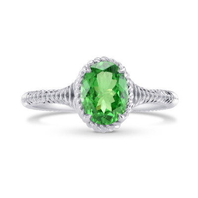 Green Tsavorite Solitaire Ring (1.28Ct)