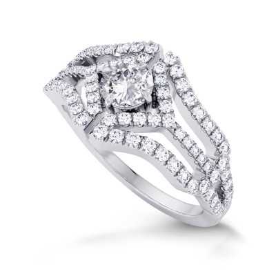 Colorless Round Brilliant Diamond Halo Ring (0.88Ct TW)