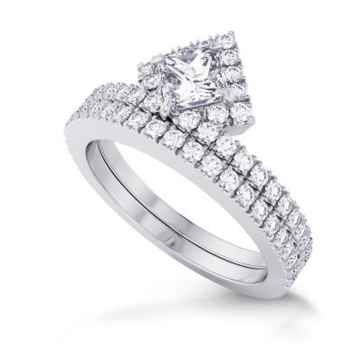 Princess Cut Halo Diamond Engagement Ring & Wedding Band Set (1.20Ct TW)