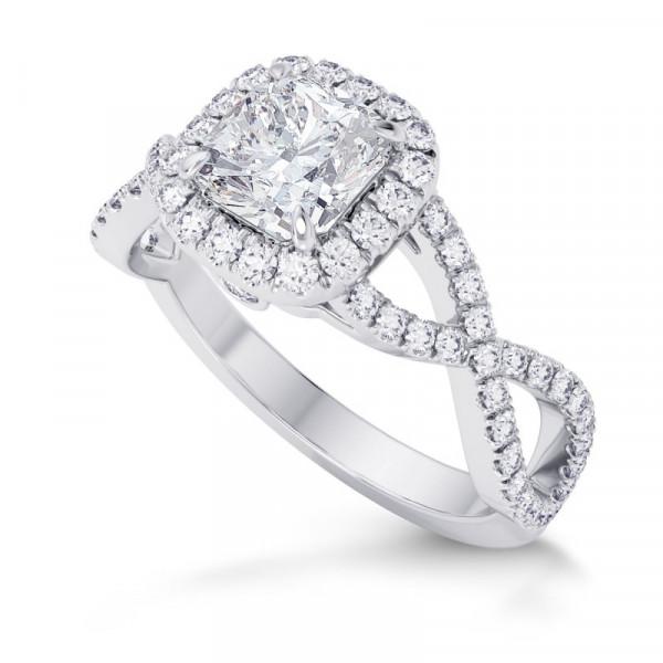 Cushion Diamond Cross-over Halo Ring (1.95Ct TW)