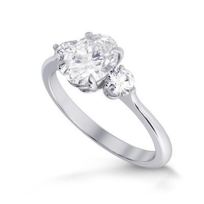 GIA Colorless Oval 3 Stone Diamond Ring (1.90Ct TW)