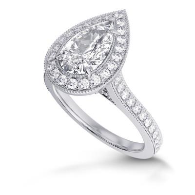 GIA Pear Shape  Vintage Style Milgrain Halo Diamond Ring (1.30Ct TW)