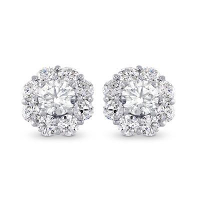 Round Brilliant Diamond Halo Earrings (2.30Ct TW)