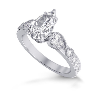 GIA Pear Accent Side Stone Diamond Ring (2.40Ct TW)