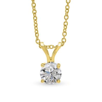 White Round Diamond Solitaire Pendant (0.50Ct)