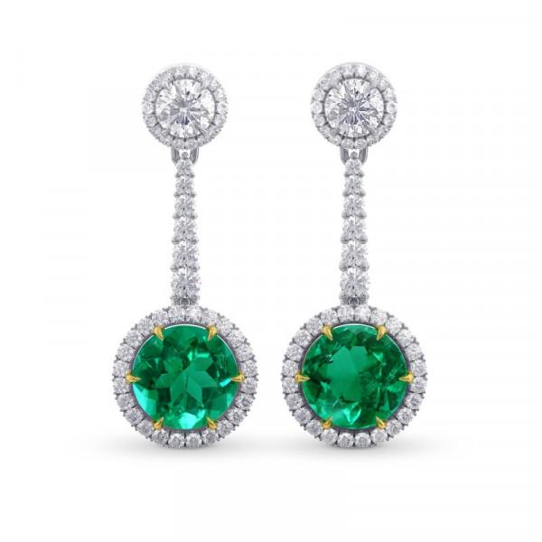 Emerald Gemstone & White Diamond Drop Earrings (6.04Ct TW)