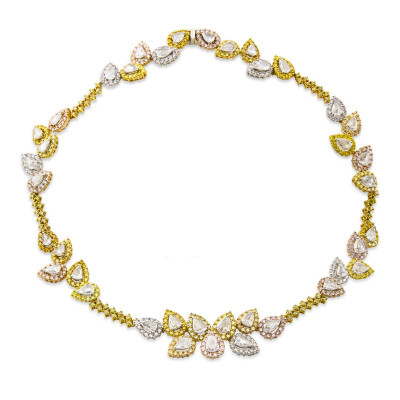 Multicolor Rose Cut diamond Necklace weighing 28.15cts Set in 18K Yellow Gold (28.15Ct TW)