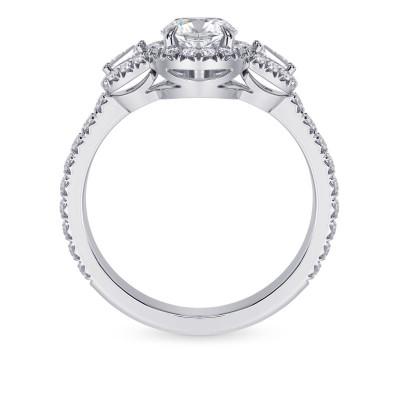 1.00ct, GIA  Oval Halo & Taper Diamond Ring (1.50Ct TW)
