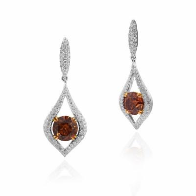 Fancy Dark Orange Brown Drop Diamond Earrings (5.05Ct TW)