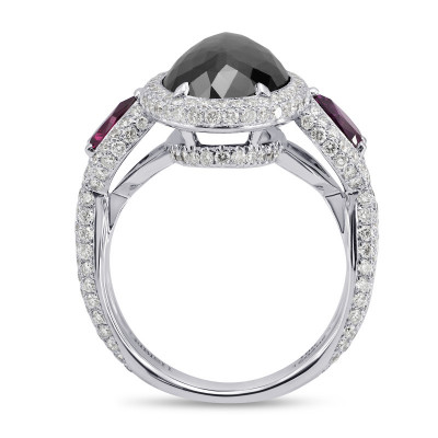 Fancy Black Oval Diamond and Ruby Ring (6.21Ct TW)