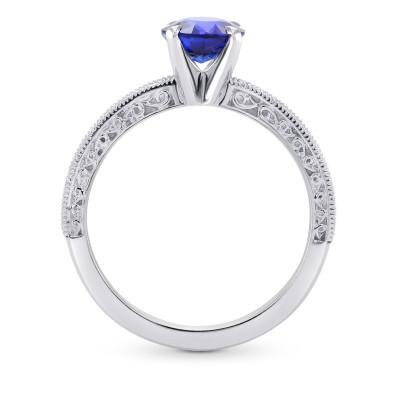 Round Sapphire & Diamond Ring with Milgrain (1.26Ct TW)