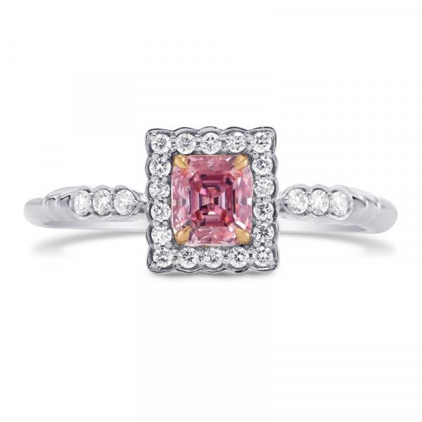 Argyle Fancy Intense Purplish Pink Emerald Diamond Ring (0.59Ct TW)