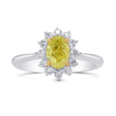Fancy Yellow Oval Diamond Floral Halo Ring (1.31Ct TW)