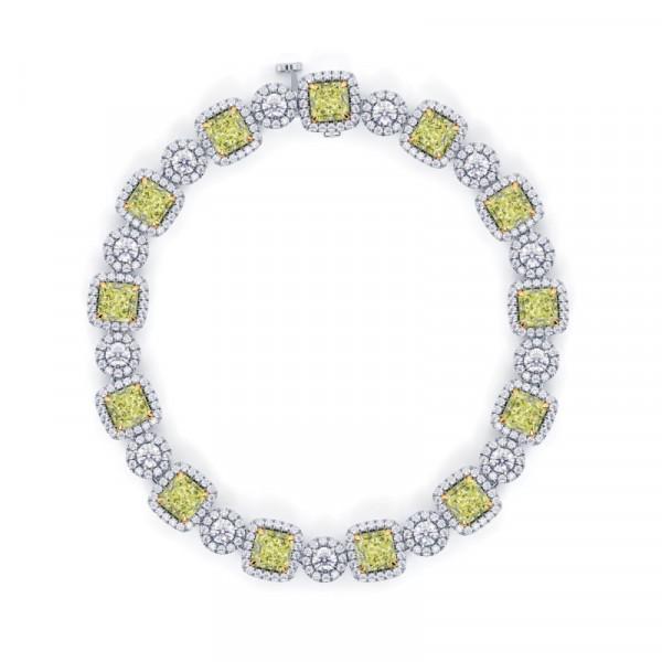 Fancy Light Yellow Radiant Diamond Bracelet (12.89Ct TW)