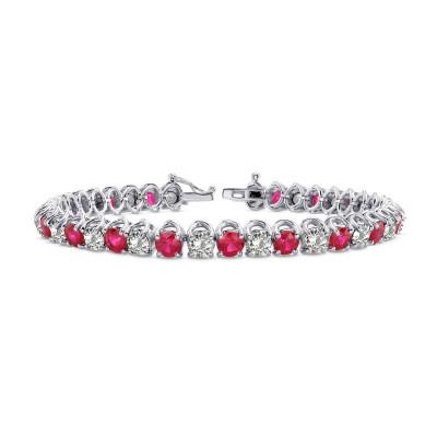 Diamond & Ruby Tennis Bracelet (10.93Ct TW)