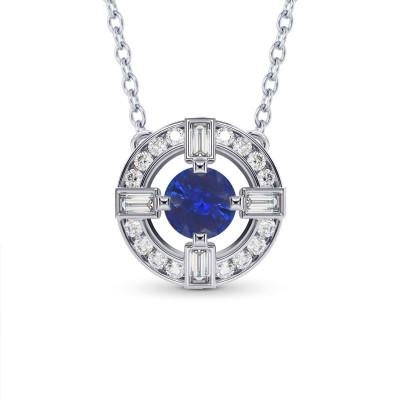 Blue Sapphire & Diamond Drop Pendant (1.65Ct TW)