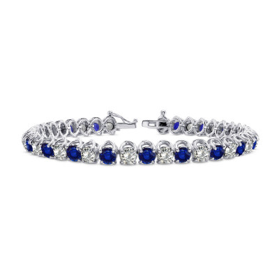 Diamond & Sapphire Tennis Bracelet (10.93Ct TW)