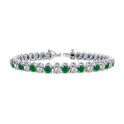 Diamond & Emerald Tennis Bracelet (8.17Ct TW)