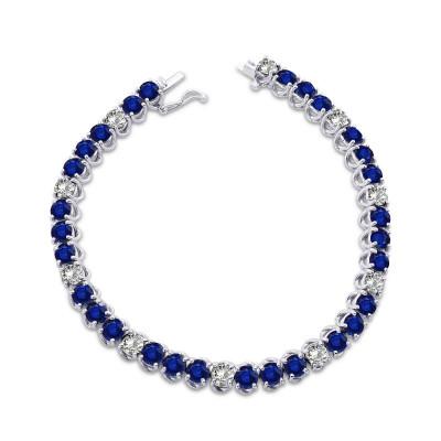 Diamond & Sapphire Tennis Bracelet (11.52Ct TW)