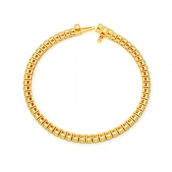 Fancy Intense Yellow Cushion Diamond Tennis Bracelet (14.38Ct TW)