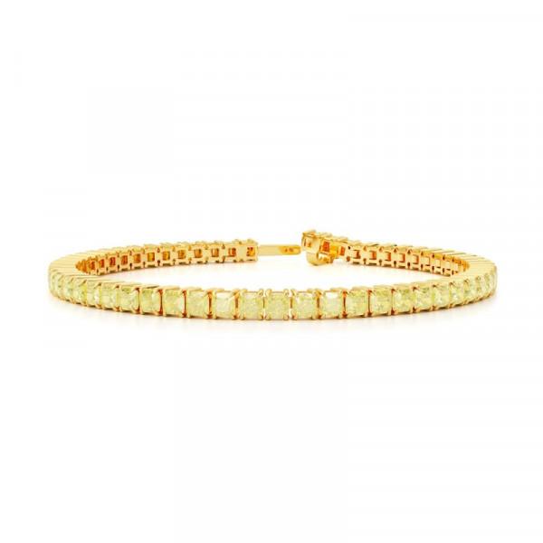 Fancy Light Yellow Cushion Diamond Tennis Bracelet (15.90Ct TW)