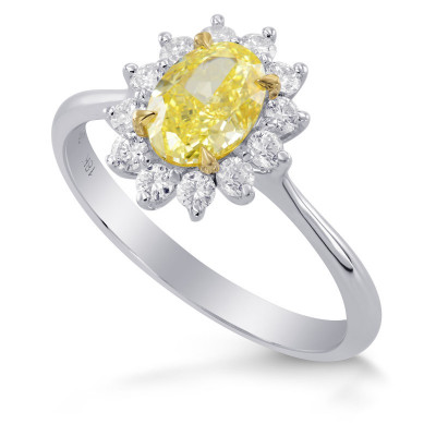 Fancy Yellow Oval Diamond Engagement Ring (1.35Ct TW)