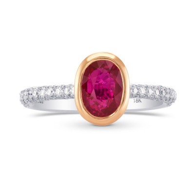 Unheated Ruby & Pink Diamond Engagement  Ring (2.13Ct TW)