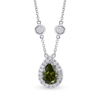 Chameleon Pear Diamond Halo Pendant (1.75Ct TW)