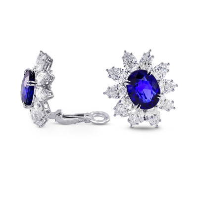 Burma No Heat Sapphire & Diamond Earrings In Platinum (24.63Ct TW)