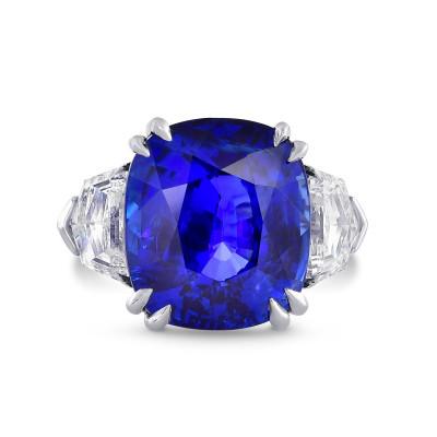 Sri-Lanka No Heat Royal Blue Sapphire & Diamond Ring In Platinum (19.42Ct TW)