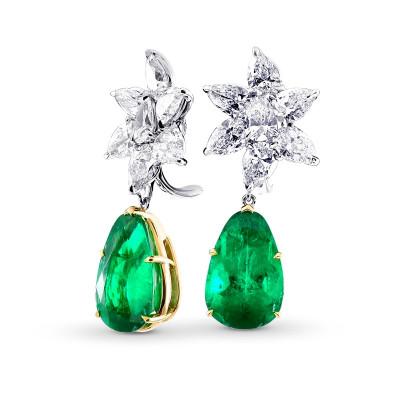 Colombian Emerald & Diamonds Drop Earrings (22.92Ct TW)