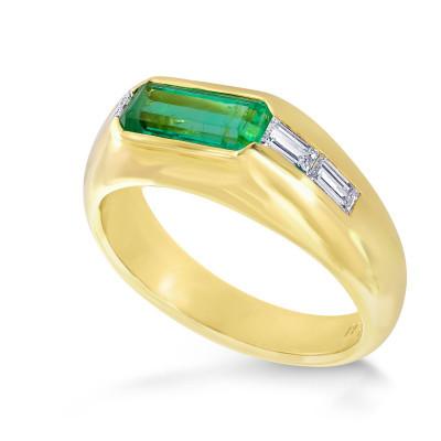 Emerald & Diamond Men's Band Ring (1.34Ct TW)
