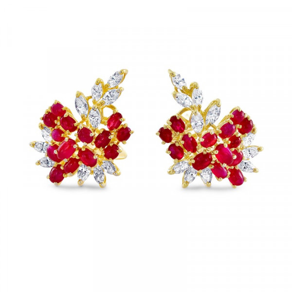 Diamond & Ruby Earrings (6.83Ct TW)