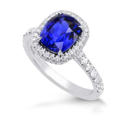Vivid Blue Sapphire & Diamond Halo Engagement Ring (3.79Ct TW)