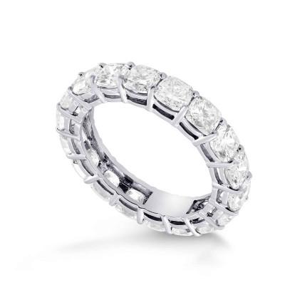 Platinum Cushion-Cut Diamond Full Eternity Band Ring (5.28Ct TW)