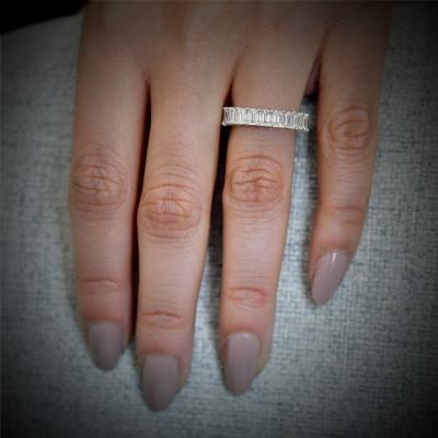 Platinum Emerald-Cut Diamond Full Eternity Band Ring (5.10Ct TW)