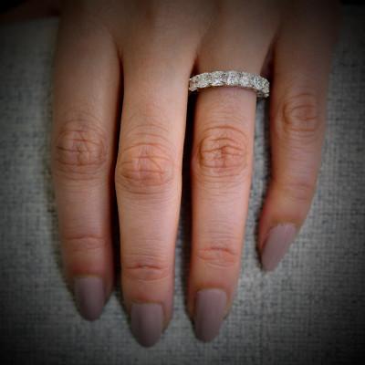 Platinum Cushion-Cut Diamond Full Eternity Band Ring (6.52Ct TW)