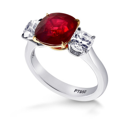 Mozambique No Heat Pigeon Blood Ruby Three Stone Ring (4.43Ct TW)