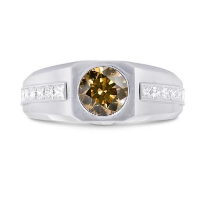 Brilliant Cut Champagne Diamond Man's Ring (2.24Ct TW)