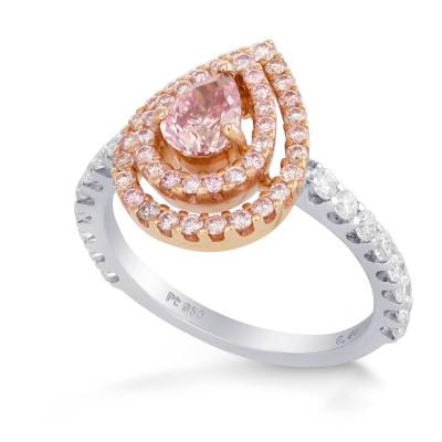 Fancy Intense Purplish Pink Pear shape Double Halo Ring (1.16Ct TW)