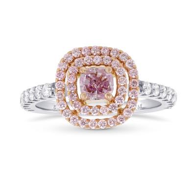 Fancy Intense Purplish Pink Double Halo Diamond Ring. (1.02Ct TW)