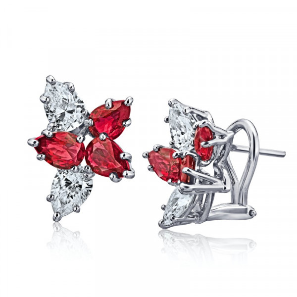2.52 Carat Pear Shape Red Ruby and Diamond Cluster Earrings (4.18Ct TW)