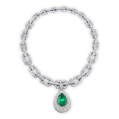 Pear Shape Emerald and Diamond Drop Necklace (62.34Ct TW)